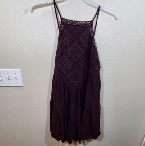 American eagle purple crocheted lace tiered dress